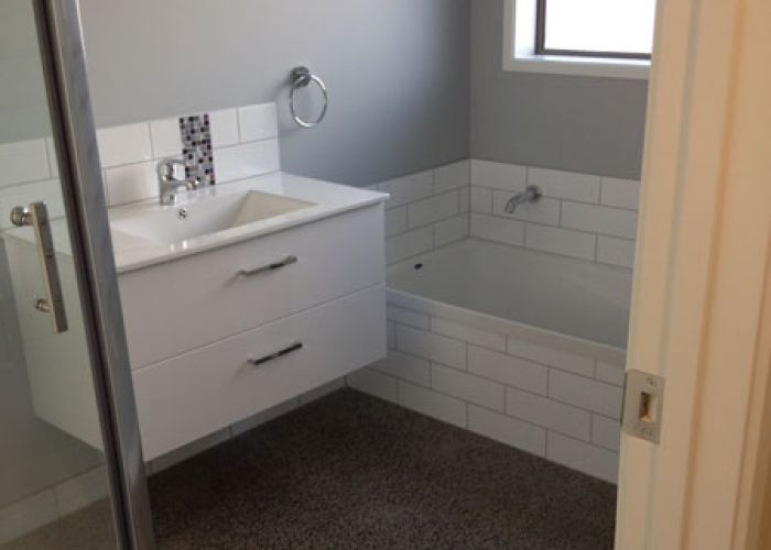 New bathroom with polished concrete floor - Ruakaka